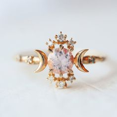 Wandering Star Ring with Pink Morganite - local eclectic - 1
