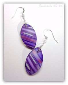 Purple Drop Earrings, handmade polymer clay jewelry available in my Etsy Shop