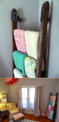 Love the old ladder to hang babies blankets!