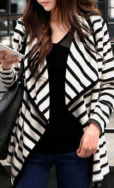 striped black + white cardigan