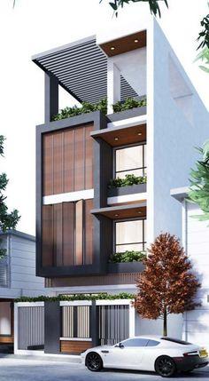 Best Duplex House Elevation Design Ideas India, Modern Style, New Designs Narrow House Designs, Modern Small House Design, Modern Exterior House Designs, Minimalist House Design, Townhouse Designs, Bungalow House Design, House Front Design, Architecture Building Design, Home Building Design