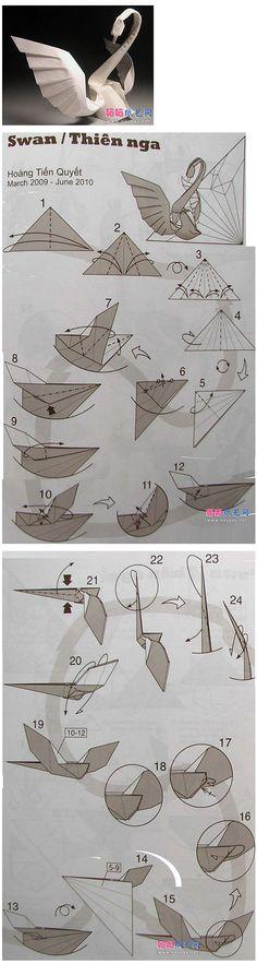 手工 DIY  【自己动手】天鹅折纸教程。