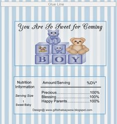 GIFTS THAT SAY WOW - Fun Crafts and Gift Ideas: Free Baby Boy Shower Candy Bar Wrappers