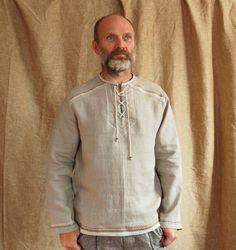 Pure linen men's shirt Siberia / rustic shirt /