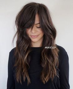 Long Brunette Shag And Side Bangs