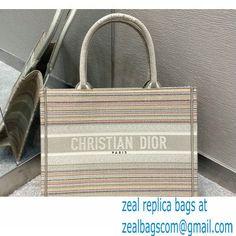 Dior Small Book Tote Bag in Multicolor Stripes Embroidery 2021