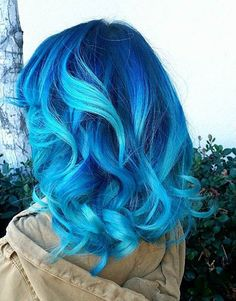 Vibrant Dark Blue to Sky Blue Ombre Hair