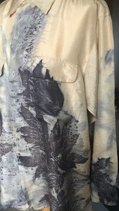 Eco dye/print. Peony leaves on silk. Beautiful !