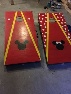cornhole boards homemade mickey mouse and minnie mouse family time fun design - Corn Hole Sets