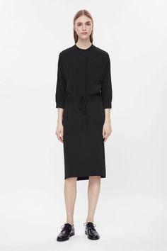 COS Indigo Drawstring waist shirt dress $125