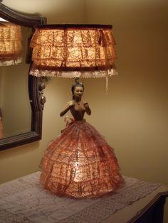 Half Doll Boudoir Lamp Bed Light early 1900's