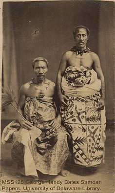 "[Portrait of two men, High Chief Tupua Tamasese Titiamaea (1830-1891) and his ""Tulafale"" Talking Chief] by University of Delaware Library, via Flickr"