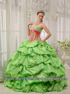 Bustie Sissi Kleid Weites Abendkleid Ballkleid in Grün