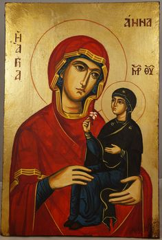 High quality hand-painted Orthodox icon of St Anne Holy Mother of Mary. BlessedMart offers Religious icons in old Byzantine, Greek, Russian and Catholic style. Religious Images, Religious Icons, Religious Art, Byzantine Icons, Byzantine Art, Virgin Mary Art, Paint Icon, Santa Ana, St Anne
