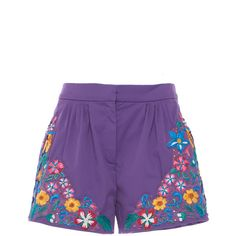 Zuhair Murad Embroidered Shorts (8.055 BRL) ❤ liked on Polyvore featuring shorts, purple, cotton shorts, floral shorts, floral printed shorts, pleated shorts and flower print shorts