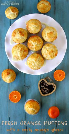 Fresh Orange Muffins With A Zesty Orange Glaze. Use sweet oranges in season now for fresh, delicious tasting muffins. Use low fat Greek yogurt and oil, no butter. Muffin Recipes, Brunch Recipes, Baking Recipes, Breakfast Recipes, Dessert Recipes, Citrus Recipes, Sweet Recipes, Orange Recipes Healthy, Yogurt Recipes