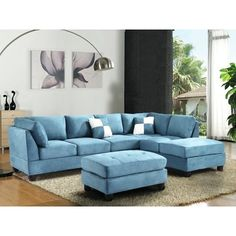 Shop for Lyke Home Aqua Microsuede Sectional. Get free delivery On EVERYTHING* Overstock - Your Online Furniture Shop! Furniture Sale, Living Room Furniture, Furniture Ideas, House Furniture, Best Sectionals, Loveseats, Living Room Arrangements, Living Room Sets, Upholstery