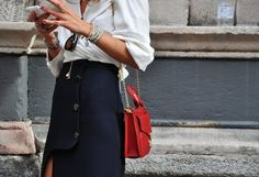 Love the color. Paired with a leather jacket is always easy and chic