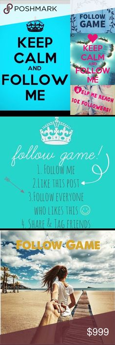 FOLLOW GAME! Like this post+follow all who like it FOLLOW GAME! 1️⃣ Follow Me 2️⃣ Like This Post 3️⃣ Follow Everyone Else Who Likes This Post 4️⃣ Share & Tag Friends! 5️⃣ Check Back For New Followers Every So Often 😊  .....Thanks in advance for all the Posh Lurve & helping me reach my 10k goal! ❤️ Follow Game! Accessories