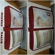 Maroon and white bible cake Bible Cake, Confirmation Cakes, Psalms, Day, Home Decor, Decoration Home, Room Decor, Home Interior Design, Home Decoration