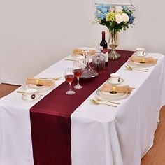LOVWY 20 PCS 12 x 108 Inches Burgundy Satin Table Runners for Wedding Party Engagement Event Birthday Graduation Banquet Decoration Engagement Celebration, Wedding Engagement, Engagement Couple, Graduation Celebration, Stained Table, Banquet Decorations, Buffet Server, Chair Sashes, Satin Fabric