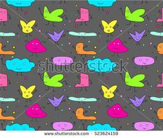 gray cloud and friend - hand draw naive art  seamless pattern vector