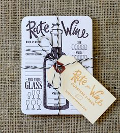 Rate Your Wine Letterpress Coasters