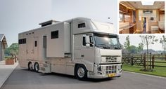 "This one was designed by Guido de Groot in combination with Roelofsen horse trailers. It's based on the Volvo FH16 6X2 FES as well as the brand new Renault Master model (the new ""Parados"" unit is on the Renault). In addition to being able to accommodate 5 people, it can accommodate 5 horses. You might have seen some of these units where they convert the horse space so that there's a car garage or more living space. http://www.guidodegroot.com"