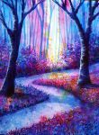 Pretty beginner canvas painting idea of purple forest path with rainbow colors and wildflowers. Traditional Art by Ann Marie Bone Acrylic Art, Tree Art, Traditional Art, Oeuvre D'art, Painting Inspiration, Amazing Art, Awesome, Watercolor Art, Fantasy Art