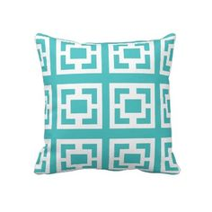 #Teal White #Geometric #Pattern #Throw #Pillow or #Cushion. Lumbar size available. http://www.zazzle.com/teal_white_throw_pillow-189852605752641333?rf=238213022379565456