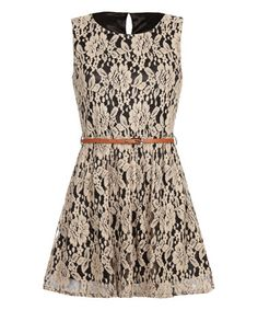 Look what I found on #zulily! Cream Lace Overlay Belted Dress by Iska London #zulilyfinds