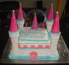 Homemade Princess Castle Birthday Cake: I made this Princess Castle Birthday Cake for a 2-year-old birthday party. I baked two boxed cakes (the funfetti kind)in two different sized square pans