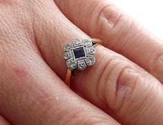 Sapphire and Diamond Ring in Daisy Cluster by TheFamilyJoolz
