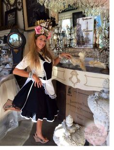I had so much fun posing for these photos! I hope there isn't any dust in Heaven! #FlowerShip #Pink Roses #FeatherDuster # FrenchMaid #Rococo #Chandeliers #Vintage