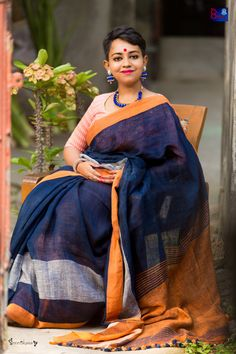 Buy Pure Handmade Linen By Linen Sarees (100 Counts)