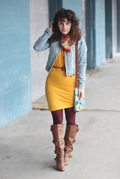 Mustard Dress + Red Scarf + Burgundy Tights + Brown Boots... drop the jean jacket though