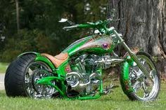 #Custom #green Harley