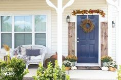 Beautiful outdoor decor perfect to welcome fall and visitors