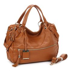 casual style tassel leather satchel bag