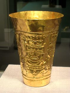 peruvian art | Description Cup, Peru north coast, Sican culture, 850-1050 AD, gold ...