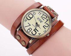 Damen Uhr mit Leder Armband - Fashion Style  Mode - Frauen - Vintage - Quarz