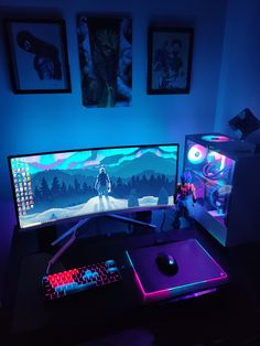 Battlestation with lights off Best Gaming Setup, Gamer Setup, Gaming Room Setup, Pc Setup, Office Setup, Computer Gaming Room, Gaming Computer Desk, Gaming Router, Gaming Pcs