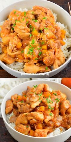Mango Chicken and Rice is an amazing Asian inspired dinner made with tender chicken thigh meat and an easy to make flavorful mango sauce. The most present flavors include the fresh mango itself, along with soy sauce, lime juice, ginger, honey, and a touch of spice from red pepper flakes. Healthy Chicken Casserole, Yummy Chicken Recipes, Yum Yum Chicken, Easy Dinner Recipes, Grilled Pineapple Chicken, Mango Chicken, Mango Sauce, The Fresh, Asian Recipes