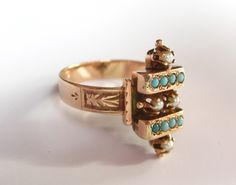 Antique Victorian Turquoise and Pearl 14K Rose Gold Ring from 1880s