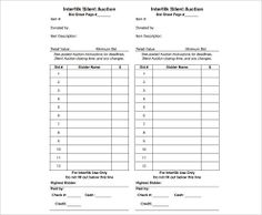 Image Result For Silent Auction Bid Sheets  Lincoln Gala