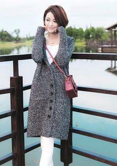4f4846da33 MIK Single Breasted Hooded Long Cardigan. Loose SweaterSweater ...