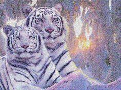 пуантизм, фотошоп, белые тигры