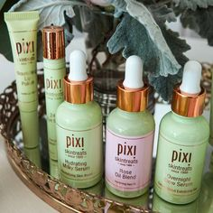 """""""Triple treat! For the Pixi-perfect nighttime routine, layer Overnight Glow Serum, followed by Hydrating Milky Serum and finish off with Rose Oil Blend,…"""""""