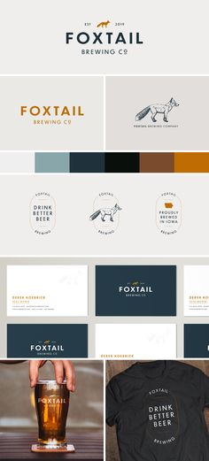 Brand identity for a fictional brewery in the midwest. Fox logo brand identity beer simple clean sharp blue orange The post Brand identity for a fictional brewery in the midwest. Fox logo brand identity b& appeared first on Design. Corporate Design, Brand Identity Design, Corporate Branding, Brand Logo Design, Beer Logo Design, Branding And Packaging, Logo Branding, Logo Inspiration, Site Web Design