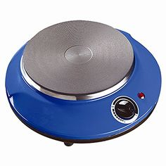 Home N Kitchenware Collection Electric Single Plate Round Burner, 1000 Watts, Overheating Protection, Slip Resistant Feet, Blue